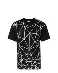 Camiseta con cuello circular con estampado geométrico en negro y blanco de Comme Des Garcons Homme Plus