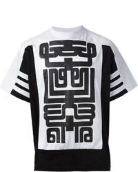 Camiseta con cuello circular con estampado geométrico en negro y blanco de Kokon To Zai