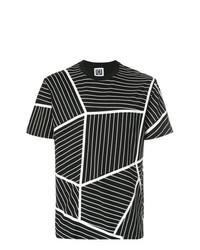 Camiseta con cuello circular con estampado geométrico en negro y blanco de Les Hommes Urban
