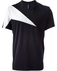 Camiseta con cuello circular con estampado geométrico en negro y blanco de Neil Barrett