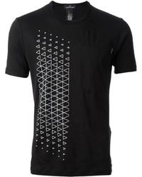 Camiseta con cuello circular con estampado geométrico en negro y blanco de Stone Island