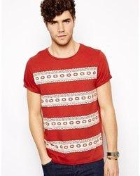 Camiseta con cuello circular con estampado geométrico roja de Asos