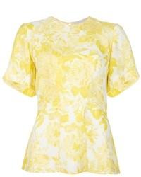 Camiseta con cuello circular con print de flores amarilla de Stella McCartney