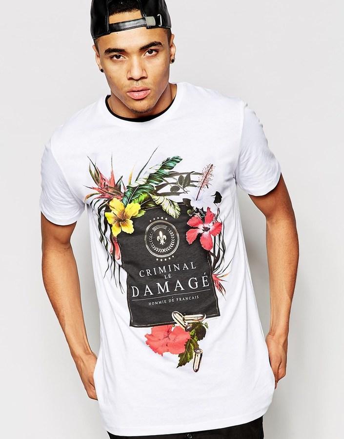 ... Camiseta con cuello circular con print de flores blanca de Criminal  Damage ...