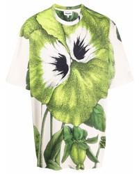 Camiseta con cuello circular con print de flores blanca de Kenzo