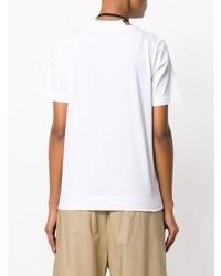 Camiseta con cuello circular con print de flores en blanco y negro