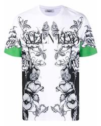 Camiseta con cuello circular con print de flores en blanco y negro de Valentino