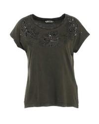 Camiseta con cuello circular con print de flores en marrón oscuro de Only
