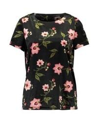Camiseta con cuello circular con print de flores en marrón oscuro de Vero Moda