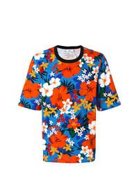 Camiseta con cuello circular con print de flores en multicolor de AMI Alexandre Mattiussi