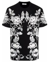 Camiseta con cuello circular con print de flores en negro y blanco de Valentino