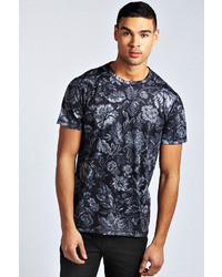 Camiseta con cuello circular con print de flores negra