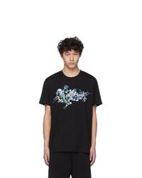 Camiseta con cuello circular con print de flores negra de Givenchy
