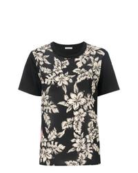 Camiseta con cuello circular con print de flores negra de Moncler