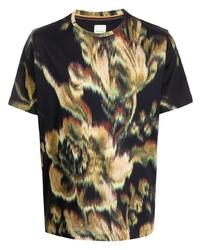 Camiseta con cuello circular con print de flores negra de Paul Smith