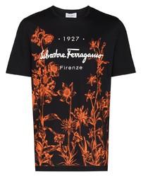 Camiseta con cuello circular con print de flores negra de Salvatore Ferragamo