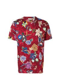 Camiseta con cuello circular con print de flores roja de Etro