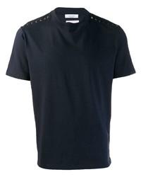 Camiseta con cuello circular con tachuelas azul marino de Valentino