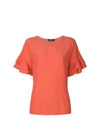 Camiseta con cuello circular con volante naranja de Twin-Set
