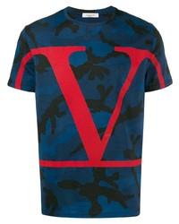 Camiseta con cuello circular de camuflaje azul marino de Valentino