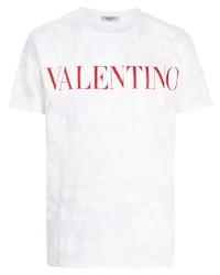 Camiseta con cuello circular de camuflaje blanca de Valentino