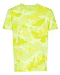 Camiseta con cuello circular de camuflaje en amarillo verdoso de Valentino