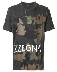 Camiseta con cuello circular de camuflaje en gris oscuro de Ermenegildo Zegna