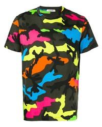 Camiseta con cuello circular de camuflaje en multicolor de Valentino