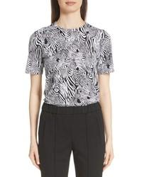 Camiseta con cuello circular de camuflaje gris