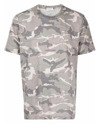 Camiseta con cuello circular de camuflaje gris de Saint Laurent