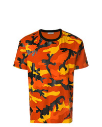 Camiseta con cuello circular de camuflaje naranja de Valentino
