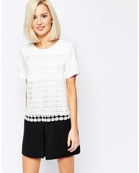Camiseta con cuello circular de crochet blanca de Vero Moda