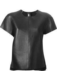 Camiseta con cuello circular de cuero negra