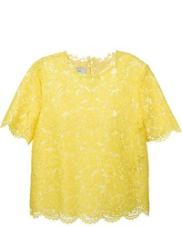 Camiseta con cuello circular de encaje amarilla de Valentino