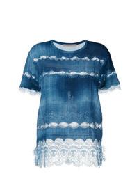 Camiseta con cuello circular de encaje azul de Ermanno Scervino