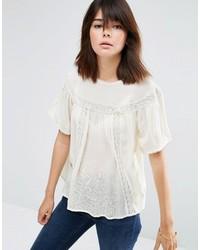 Camiseta con cuello circular de encaje blanca de Asos