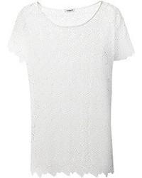 Camiseta con cuello circular de encaje blanca de Cacharel