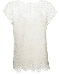 Camiseta con cuello circular de encaje blanca de Dolce & Gabbana