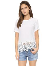 Camiseta con cuello circular de encaje blanca de Equipment