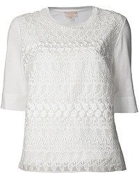 Camiseta con cuello circular de encaje blanca de Giambattista Valli