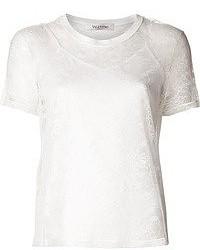 Camiseta con cuello circular de encaje blanca de Valentino