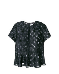 Camiseta con cuello circular de encaje bordada negra de Comme Des Garçons Noir Kei Ninomiya