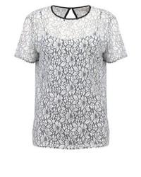 Camiseta con cuello circular de encaje con print de flores blanca de Michael Kors