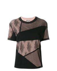 Camiseta con cuello circular de encaje de patchwork negra de McQ Alexander McQueen