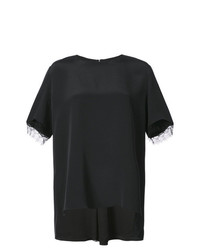 Camiseta con cuello circular de encaje negra de Adam Lippes