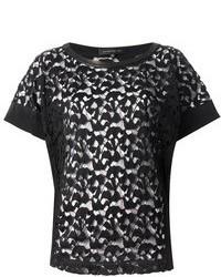Camiseta con cuello circular de encaje negra de Barbara Bui