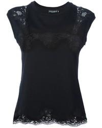 Camiseta con cuello circular de encaje negra de Dolce & Gabbana