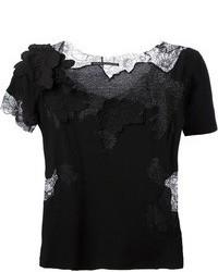 Camiseta con cuello circular de encaje negra de Ermanno Scervino