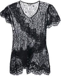 Camiseta con cuello circular de encaje negra de Isabel Marant