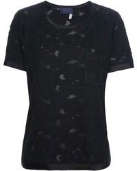 Camiseta con cuello circular de encaje negra de Lanvin